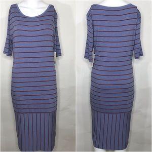 Lularoe NWT Julia Dress Blue with Red Stripes Med